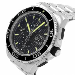 Tag Heuer Black Stainless Steel Aquaracer Chronograph CAK2111 Men's Wristwatch 43MM 207515