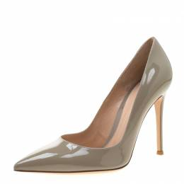 Gianvito Rossi Grey Patent Leather Pointed Toe Pumps Size 39.5 208665