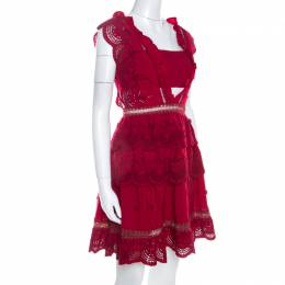 Self-portrait Red Crepe Eyelet Embroidered Tiered Sleeveless Peplum Dress M