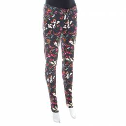 Alice + Olivia Black Fall Garden Print Stretch Cotton Jane Skinny Jeans S 208123