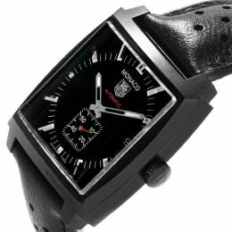 Tag Heuer Black Titanium Carbide Coated Stainless Steel Monaco WW2119 Men's Wristwatch 37MM 207527