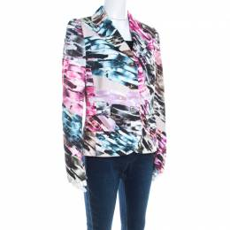 Escada Abstract Fantasy Printed Cotton Jacquard Burka Blazer M