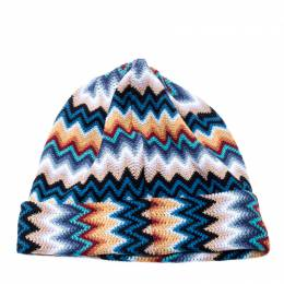 Missoni Multicolor Wool Blend Zig Zag Knit Beanie