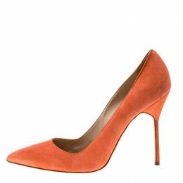 Manolo Blahnik Coral Suede BB Pointed Toe Pumps Size 38