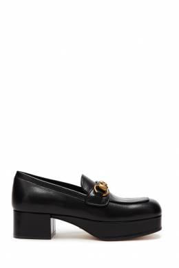 Черные лоферы на платформе Horsebit Gucci 470139261