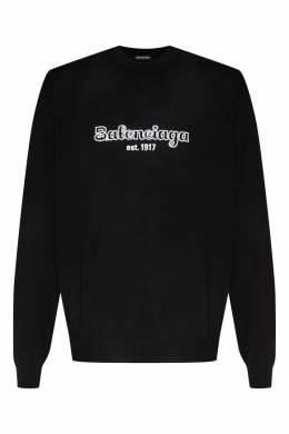 Черный джемпер с вырезом под горло и логотипом Balenciaga Man 2673140044
