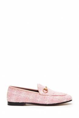 Лоферы из розового твида Jordaan Gucci 470139257