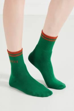 Зеленые носки с вышивкой и люрексом Gucci 470139943