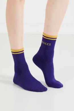 Синие носки с вышивкой и люрексом Gucci 470139942