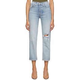 Re/Done Blue Originals High-Rise Stove Pipe Jeans 192800F06901608GB