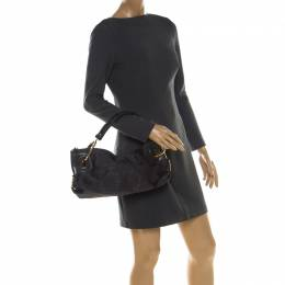 Gianfranco Ferre Black Nylon and Leather Buckle Shoulder Bag