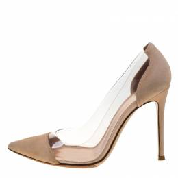 Gianvito Rossi Beige Suede And PVC Plexi Pointed Toe Pumps Size 36 208026