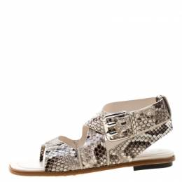 Tod's Two Tone Python Leather Cross Strap Flat Sandals Size 37.5 Tod's