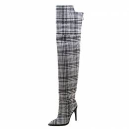 Off-White Black And White Tartan Plaid Over The Knee Boots 40 209227
