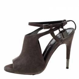 Tom Ford Grey Suede Peep Toe Ankle Strap Sandals Size 37 209258