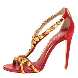 Loriblu Bijoux Red Satin Floral Embellished Crystal Studded Sandals Size 40 153590