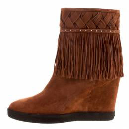 Le Silla Brown Suede Concealed Fringed Wedge Boots Size 38.5 123601