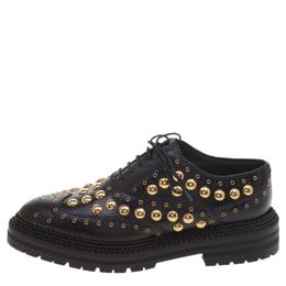 Burberry Black Leather Deardown Studded Platform Oxfords Size 37 120490