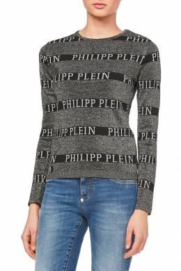 Серый джемпер с надписями Philipp Plein 1795140972