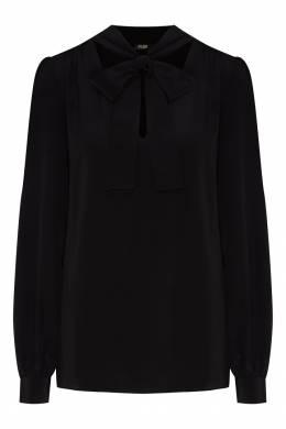 Черная шелковая блуза с бантом Maje 888140183