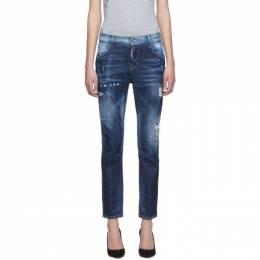 Dsquared2 Blue Light Belt Under Patch Wash Cool Girl Jeans 192148F06900305GB