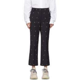 Tibi Navy Ant Embroidery Cropped Trousers 192095F08700201GB