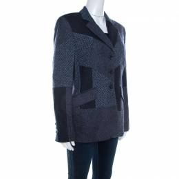 Escada Navy Blue Wool Blend Patchwork Blazer M
