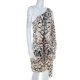 Roberto Cavalli Multicolor Silk Animal Print One Shoulder Asymmetrical Dress L 209572