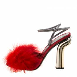 Marco De Vincenzo Red Marabou Feathers Embellished Ankle Strap Sandals Size 38.5 207758