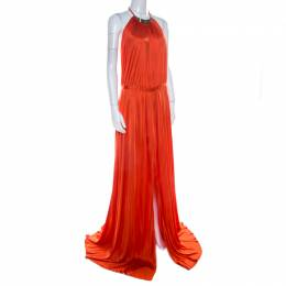 Versace Collection Orange Knit Medusa Icon Choker Detail Halter Gown L 209292