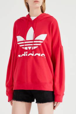 Ярко-розовое худи с логотипом-трилистником Adidas 819141069
