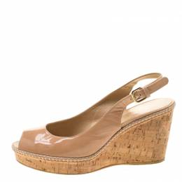 Stuart Weitzman Beige Patent Leather Jean Peep Toe Cork Wedge Slingback Sandals Size 41