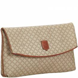 Celine Beige/Brown PVC Plastic Macadam Clutch Bag