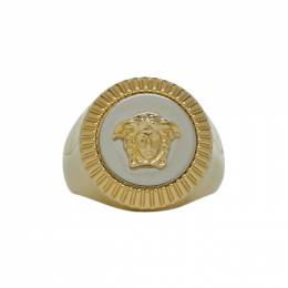 Versace Gold and Silver Guilloche Medusa Ring 192404F02401407GB