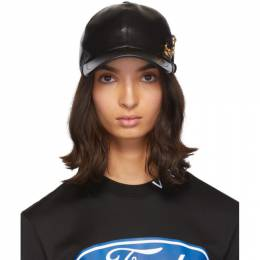 Versace Black Leather Safety Pin Baseball Cap 192404F01600102GB