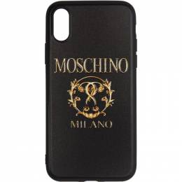 Moschino Black Textured Print iPhone X Case 192720M15300101GB