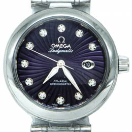 Omega Purple Stainless Steel Deville Ladymatic Diamond Women's Watch 34MM 210621