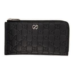 Gucci Black GG Print Signature Zip Wallet 574745 CWC1N