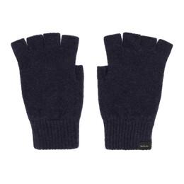 Paul Smith Navy Wool Fingerless Gloves 192260M13501001GB