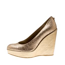 Stuart Weitzman Metallic Gold Glitter Platform Wedges Pumps Size 38 210853