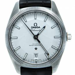 Omega White Globmeaster Automatic Open Case Men's Watch 39MM