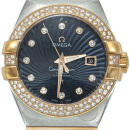 Omega Blue 18K Rose Gold & Steel Constellation Two Diamond Lines Women's Watch 31MM