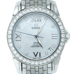 Omega White Prestige Mop Dial Deville Full Diamond Bezel & Dial Women's Watch 31MM
