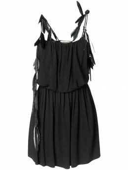 Saint Laurent - платье с перьевой отделкой 963Y686Q908608830000