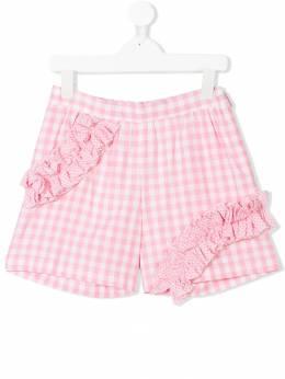 MSGM Kids ruffled gingham shorts 013901