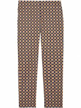 Burberry - Tiled Archive Print Stretch Cotton Cigarette Trousers 08559093935900000000