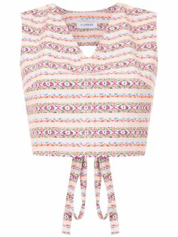 Olympiah printed Papa cropped top 218140E