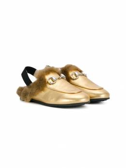 Gucci Kids faux fur slingback loafers 5261920SB90