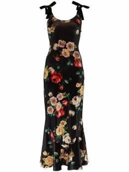 Attico - бархатное платье на бретелях с принтом 98539909983630000000