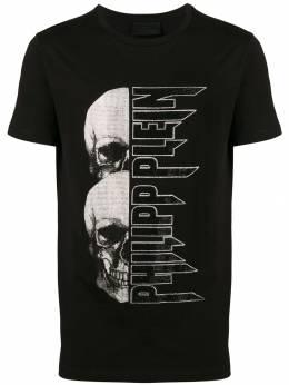 Philipp Plein - футболка с принтом черепов и логотипа CMTK3636PJY660N93569